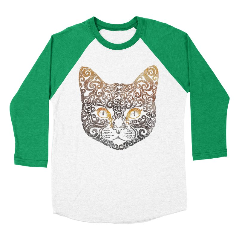 Swirly Cat Portrait 2 Women's Baseball Triblend T-Shirt by VectorInk's Artist Shop