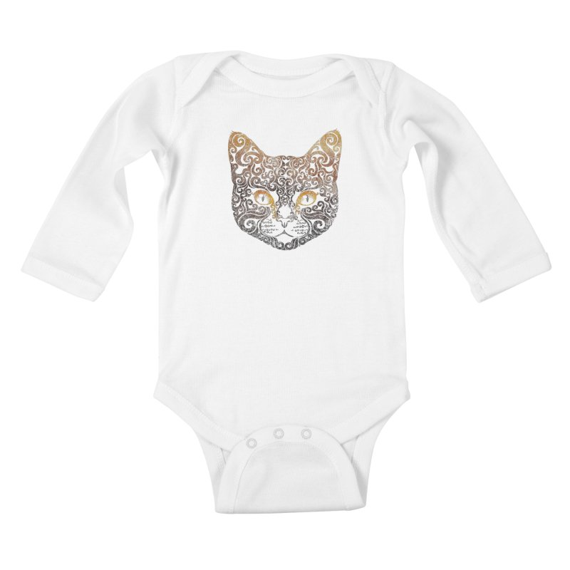 Swirly Cat Portrait 2 Kids Baby Longsleeve Bodysuit by VectorInk's Artist Shop