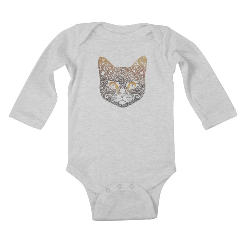 Swirly Cat Portrait 2 Kids Baby Longsleeve Bodysuit by VectorInk's Artist Shop