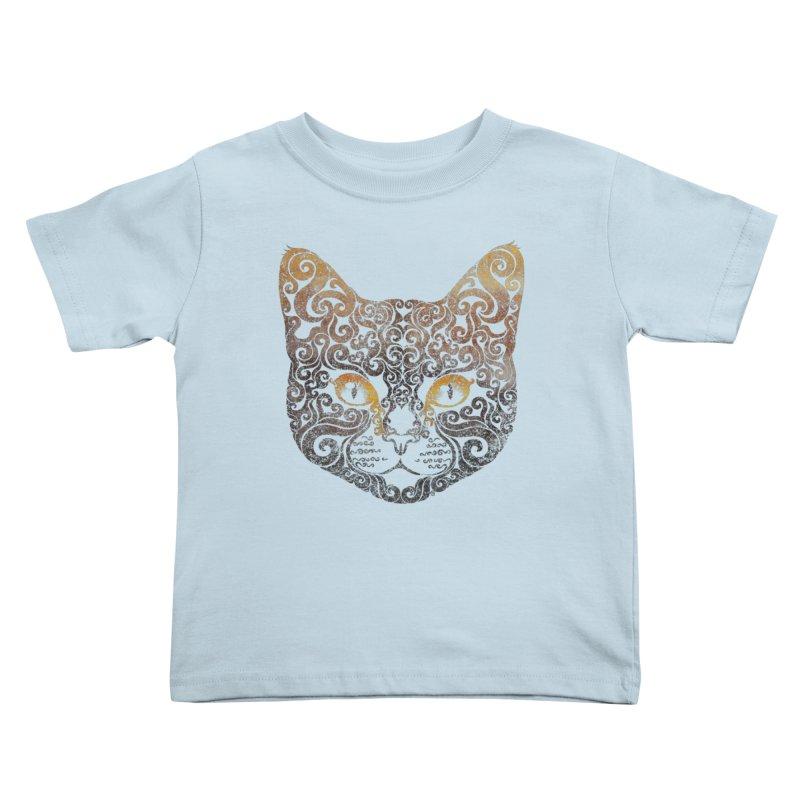 Swirly Cat Portrait 2 Kids Toddler T-Shirt by VectorInk's Artist Shop