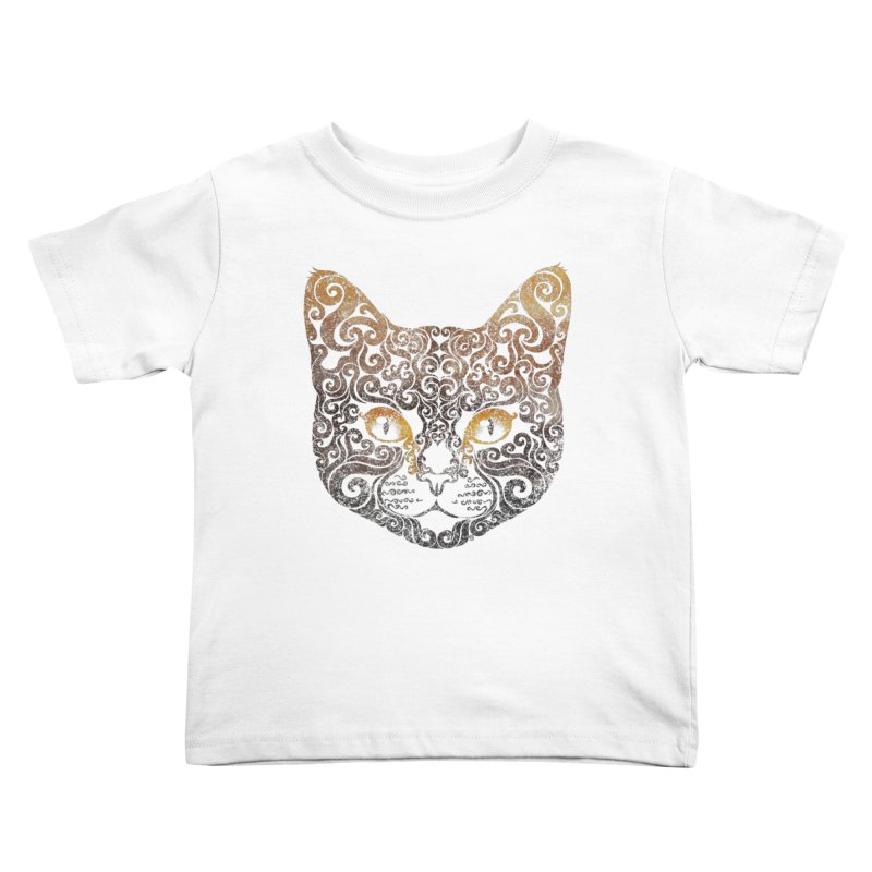 Swirly Cat Portrait 2 Kids Toddler T-Shirt by VectorInk's Artist Shop