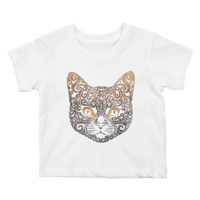 Swirly Cat Portrait 2 Kids Baby T-Shirt by VectorInk's Artist Shop