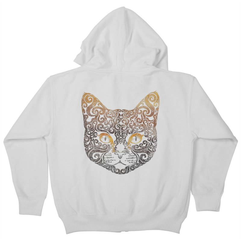 Swirly Cat Portrait 2 Kids Zip-Up Hoody by VectorInk's Artist Shop