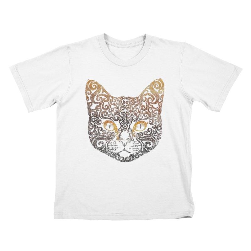 Swirly Cat Portrait 2 Kids T-Shirt by VectorInk's Artist Shop