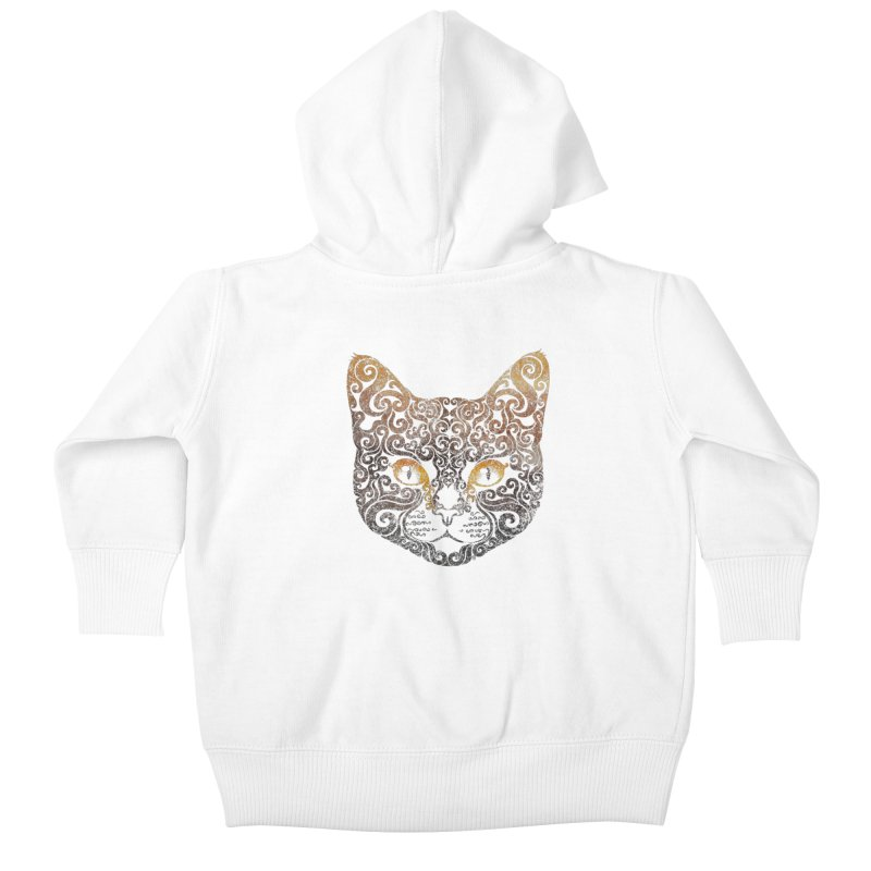 Swirly Cat Portrait 2 Kids Baby Zip-Up Hoody by VectorInk's Artist Shop