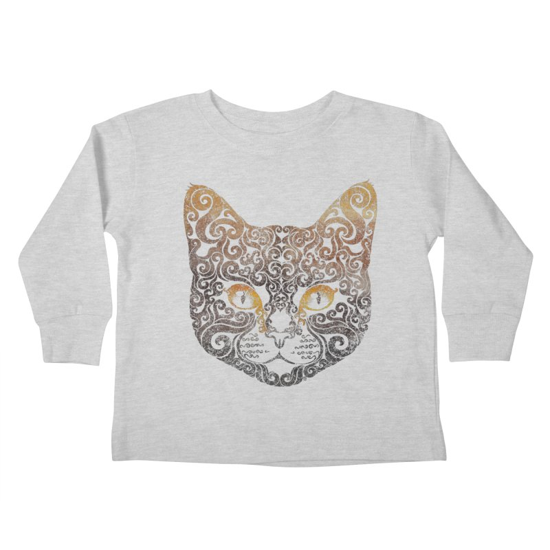 Swirly Cat Portrait 2 Kids Toddler Longsleeve T-Shirt by VectorInk's Artist Shop