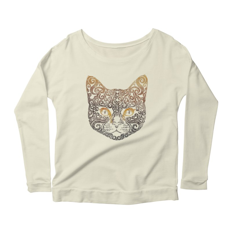 Swirly Cat Portrait 2 Women's Scoop Neck Longsleeve T-Shirt by VectorInk's Artist Shop
