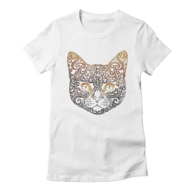 Swirly Cat Portrait 2 Women's Fitted T-Shirt by VectorInk's Artist Shop