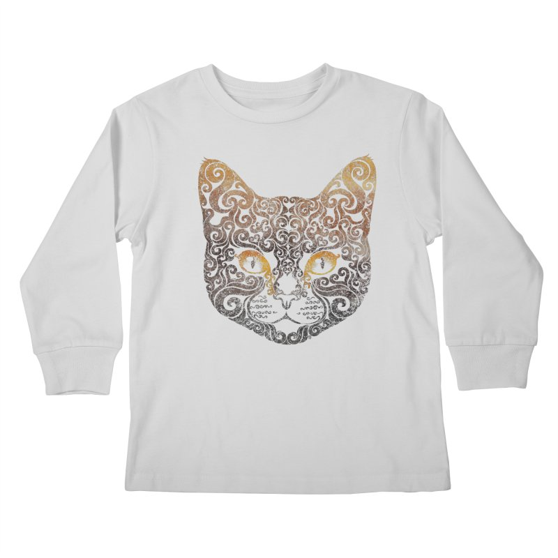 Swirly Cat Portrait 2 Kids Longsleeve T-Shirt by VectorInk's Artist Shop