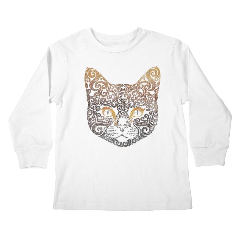 Swirly Cat Portrait 2 Kids Longsleeve T-Shirt by VectorInk's Artist Shop