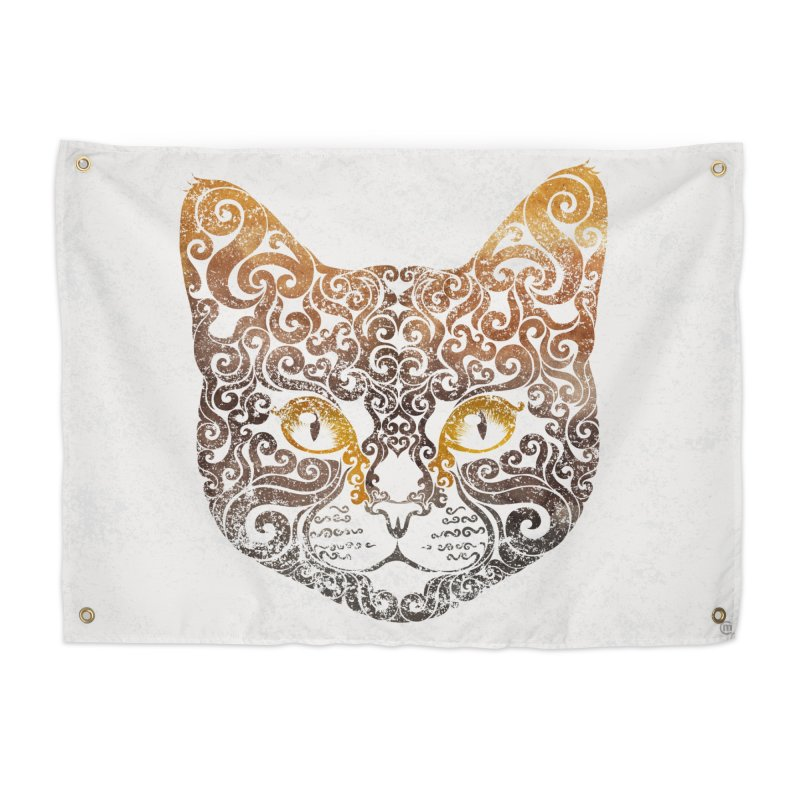 Swirly Cat Portrait 2 Home Tapestry by VectorInk's Artist Shop
