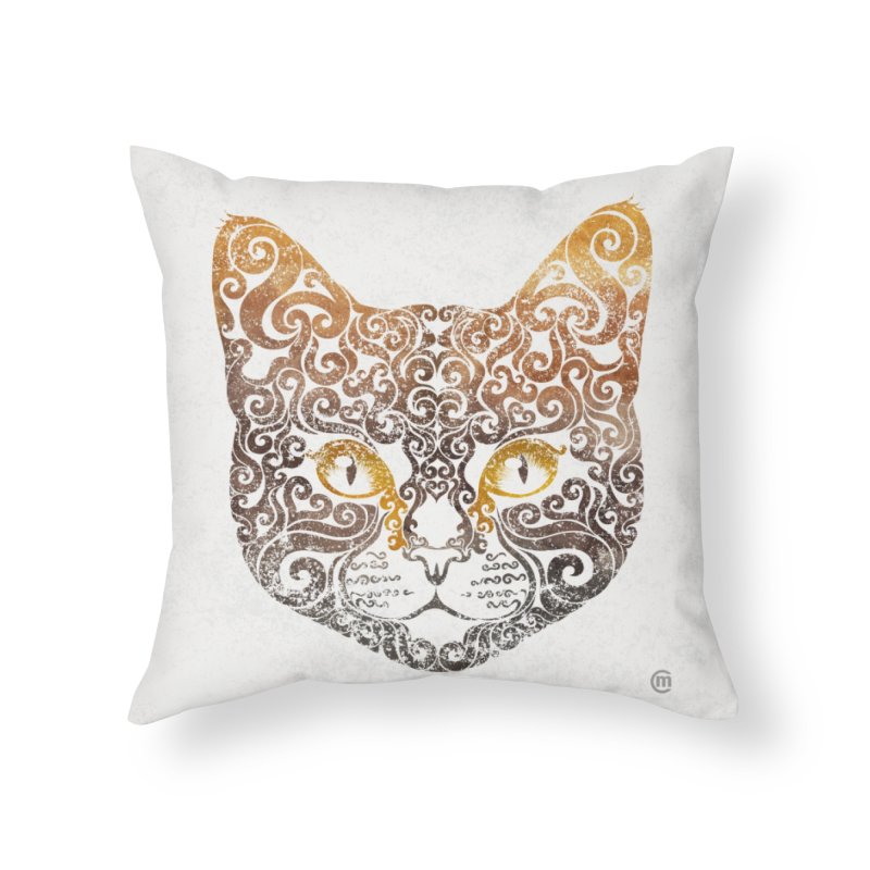 Swirly Cat Portrait 2 Home Throw Pillow by VectorInk's Artist Shop