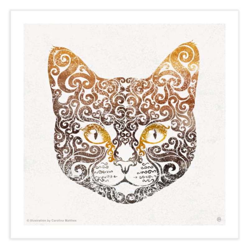 Swirly Cat Portrait 2 Home Fine Art Print by VectorInk's Artist Shop