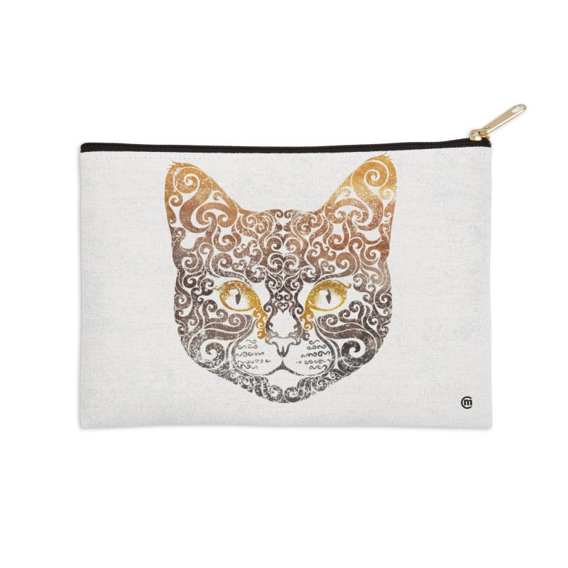 Swirly Cat Portrait 2 Accessories Zip Pouch by VectorInk's Artist Shop