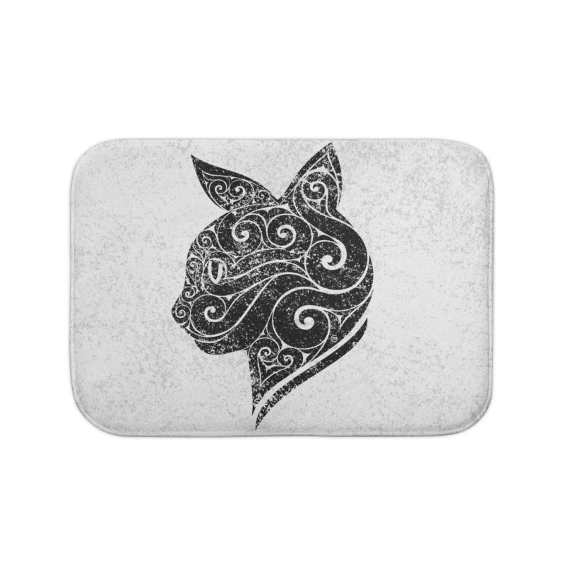 Swirly Cat Portrait 3 Home Bath Mat by VectorInk's Artist Shop