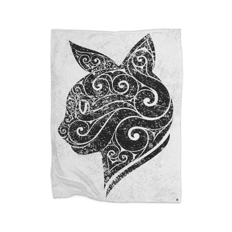 Swirly Cat Portrait 3 Home Blanket by VectorInk's Artist Shop