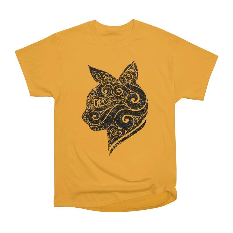 Swirly Cat Portrait 3 Women's Heavyweight Unisex T-Shirt by VectorInk's Artist Shop