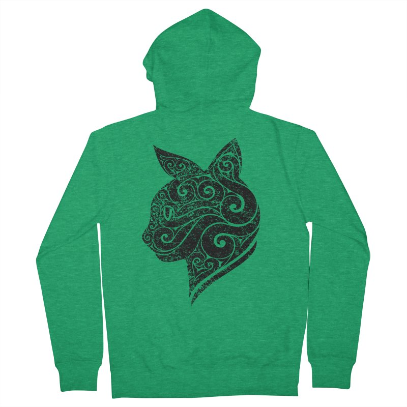 Swirly Cat Portrait 3 Men's Zip-Up Hoody by VectorInk's Artist Shop
