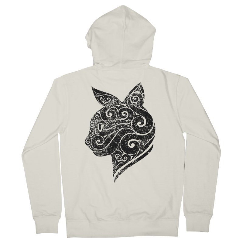 Swirly Cat Portrait 3 Men's French Terry Zip-Up Hoody by VectorInk's Artist Shop