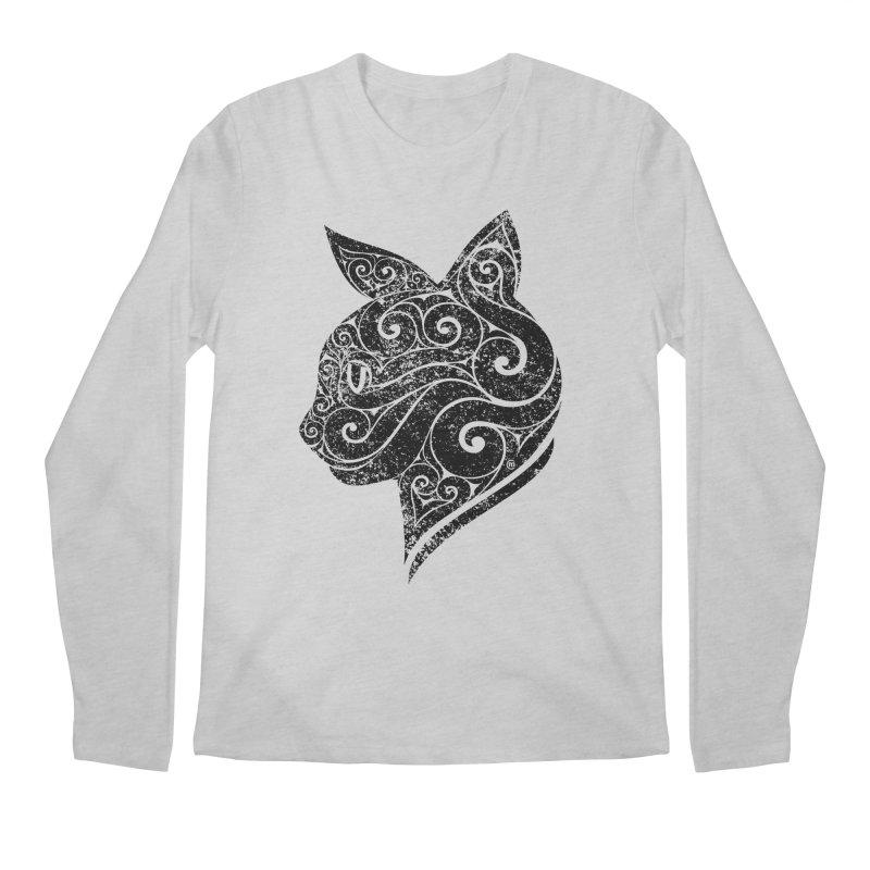Swirly Cat Portrait 3 Men's Longsleeve T-Shirt by VectorInk's Artist Shop