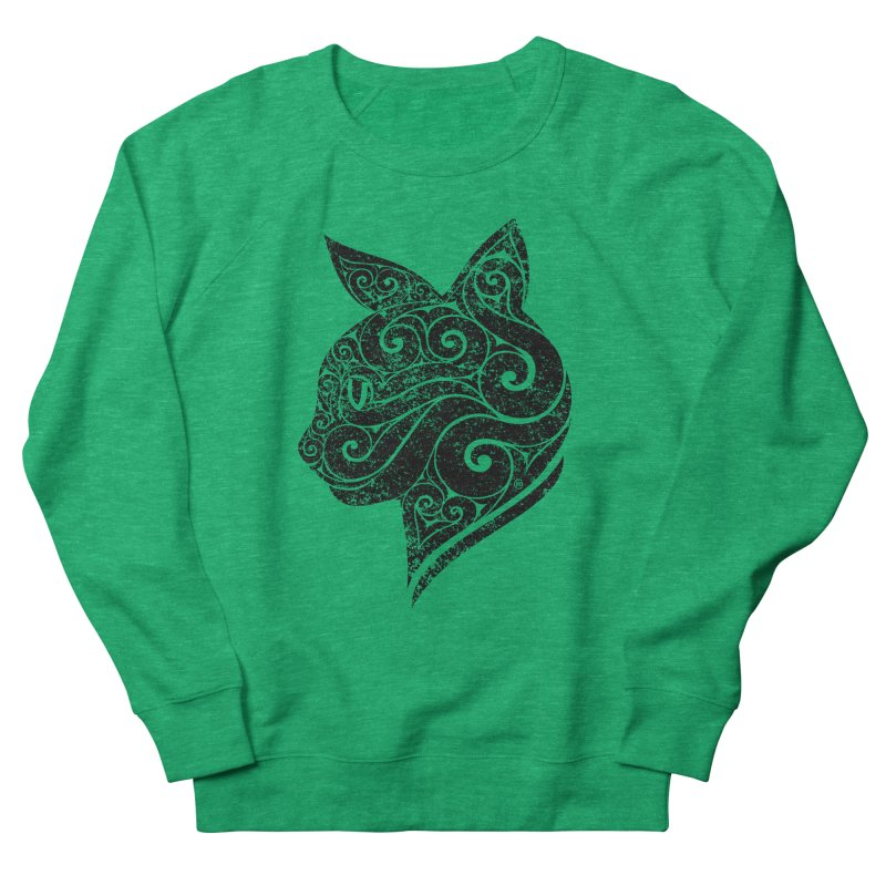 Swirly Cat Portrait 3 Women's French Terry Sweatshirt by VectorInk's Artist Shop