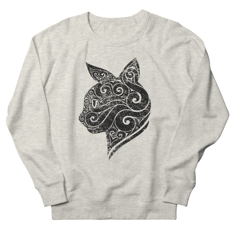 Swirly Cat Portrait 3 Men's French Terry Sweatshirt by VectorInk's Artist Shop