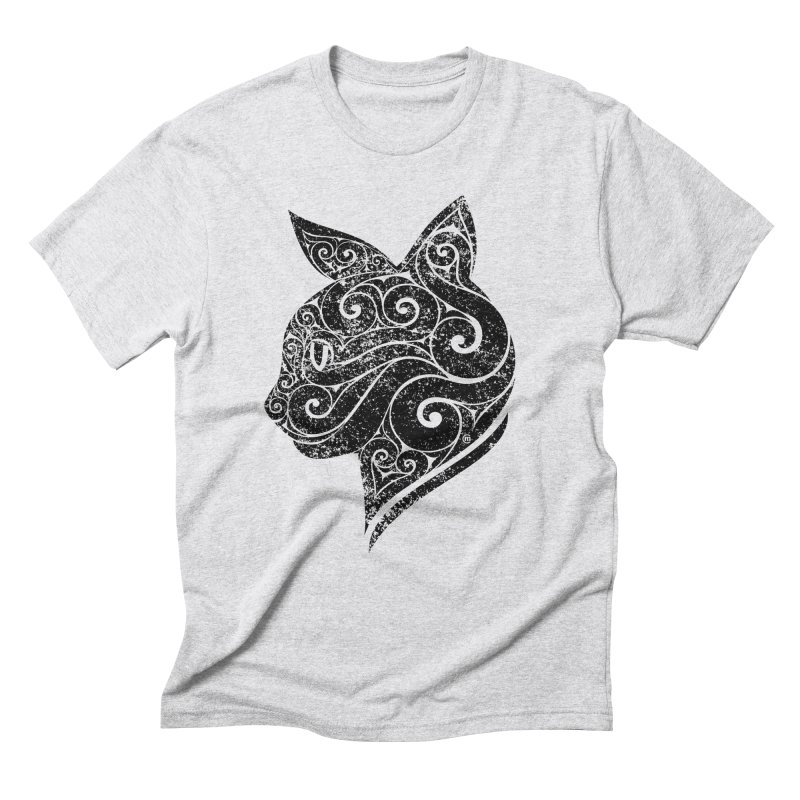 Swirly Cat Portrait 3 Men's Triblend T-shirt by VectorInk's Artist Shop