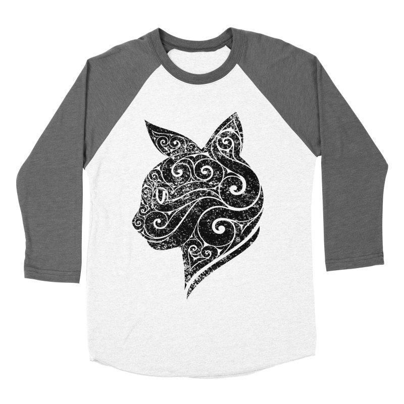 Swirly Cat Portrait 3 Women's Baseball Triblend T-Shirt by VectorInk's Artist Shop
