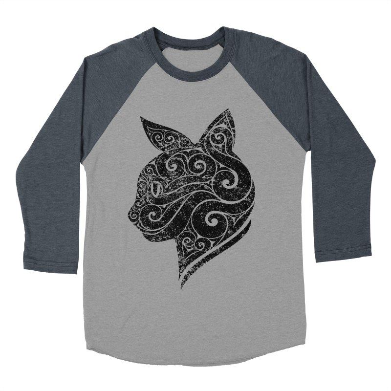 Swirly Cat Portrait 3 Men's Baseball Triblend Longsleeve T-Shirt by VectorInk's Artist Shop