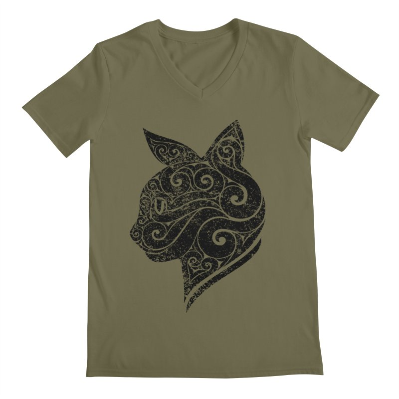 Swirly Cat Portrait 3 Men's Regular V-Neck by VectorInk's Artist Shop