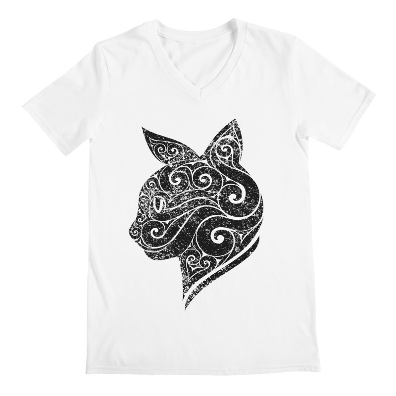 Swirly Cat Portrait 3 Men's V-Neck by VectorInk's Artist Shop
