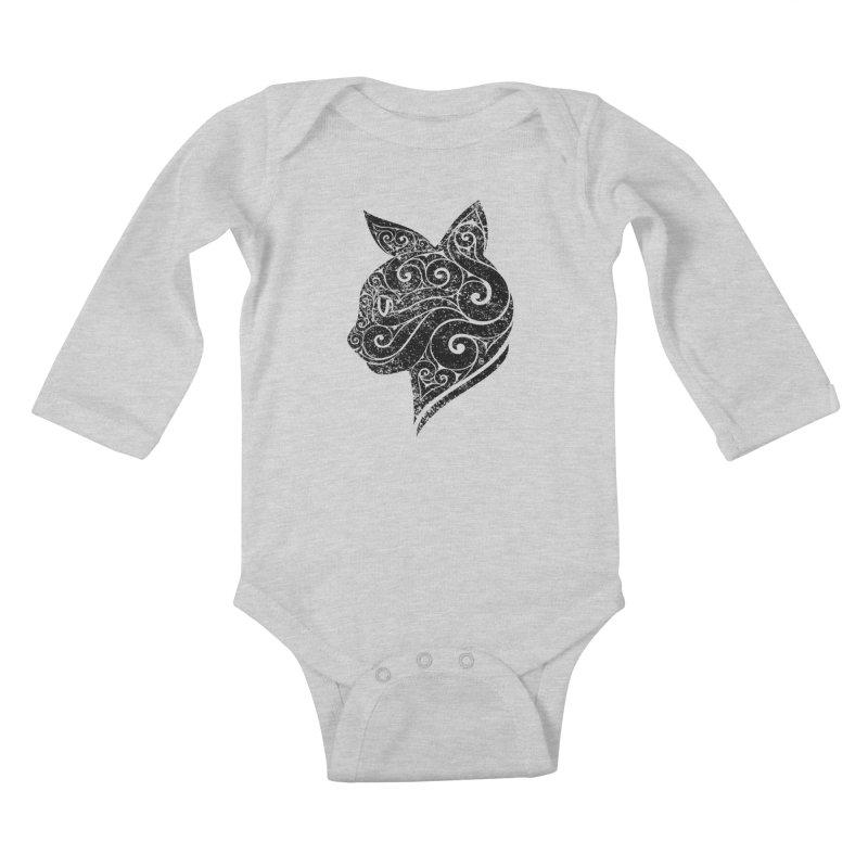 Swirly Cat Portrait 3 Kids Baby Longsleeve Bodysuit by VectorInk's Artist Shop