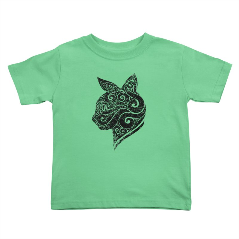 Swirly Cat Portrait 3 Kids Toddler T-Shirt by VectorInk's Artist Shop