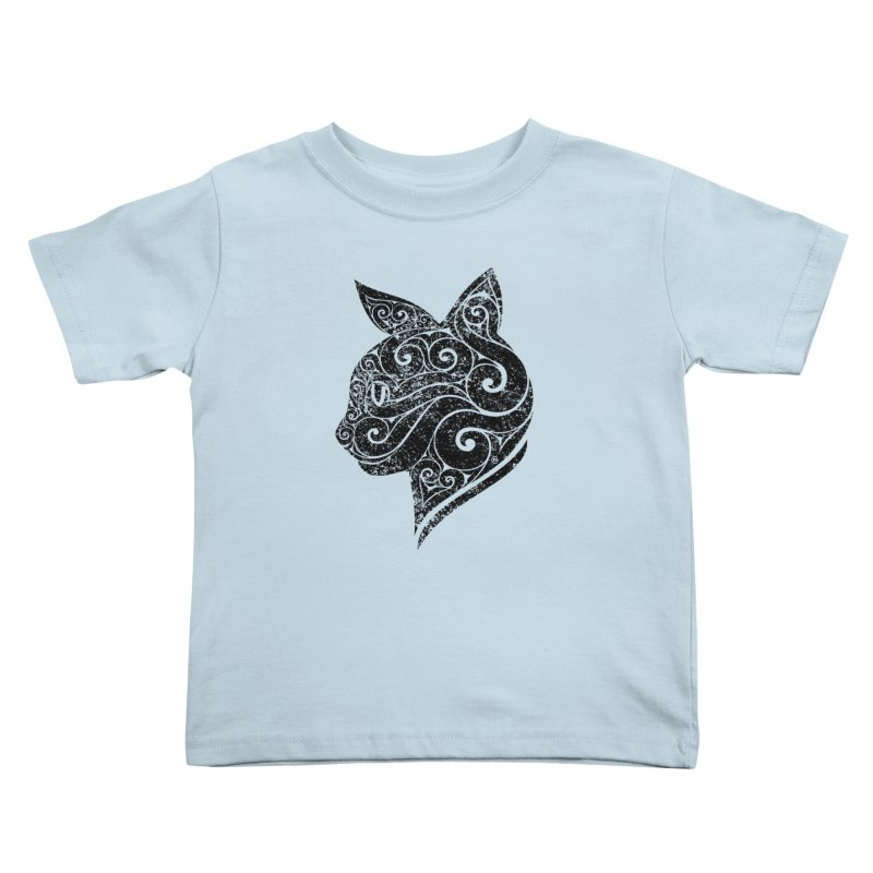 Swirly Cat Portrait 3 Kids Toddler T-Shirt by VectorInk's Artist Shop
