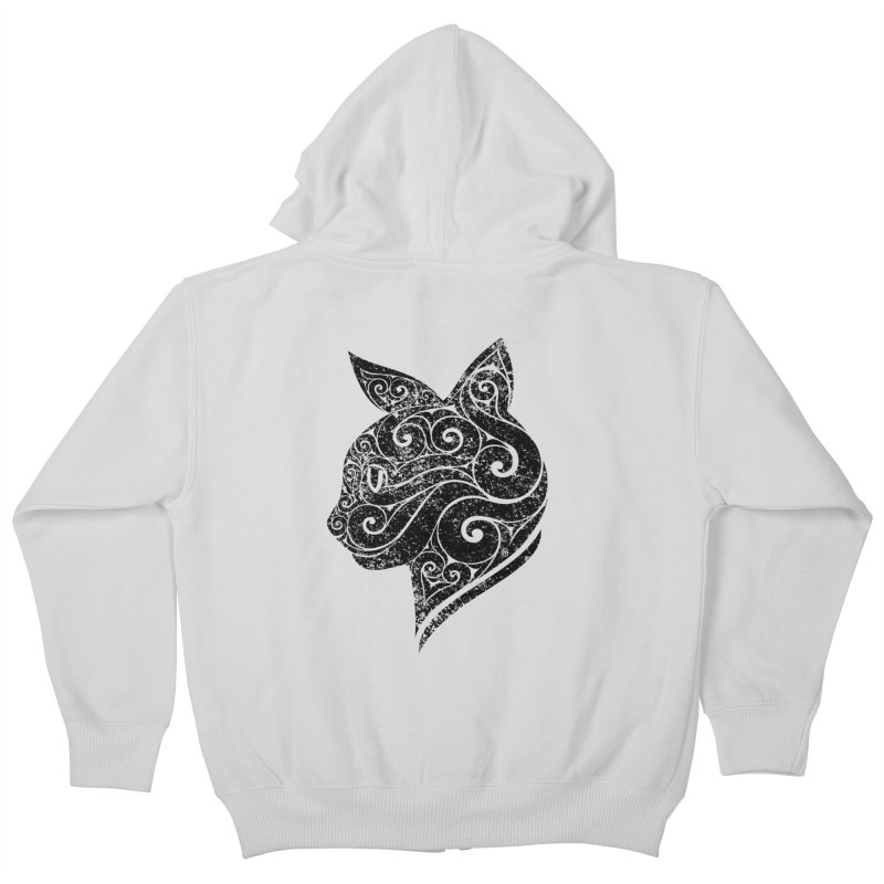Swirly Cat Portrait 3 Kids Zip-Up Hoody by VectorInk's Artist Shop