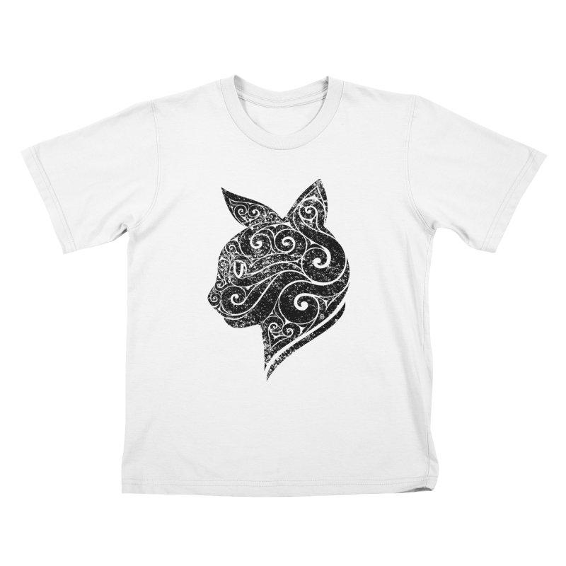 Swirly Cat Portrait 3 Kids T-Shirt by VectorInk's Artist Shop