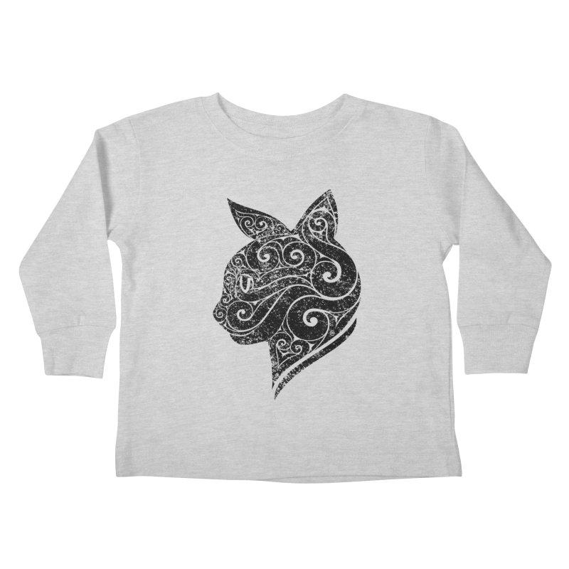 Swirly Cat Portrait 3 Kids Toddler Longsleeve T-Shirt by VectorInk's Artist Shop