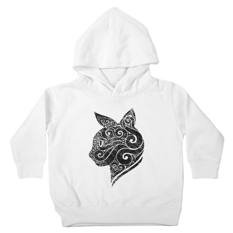 Swirly Cat Portrait 3 Kids Toddler Pullover Hoody by VectorInk's Artist Shop