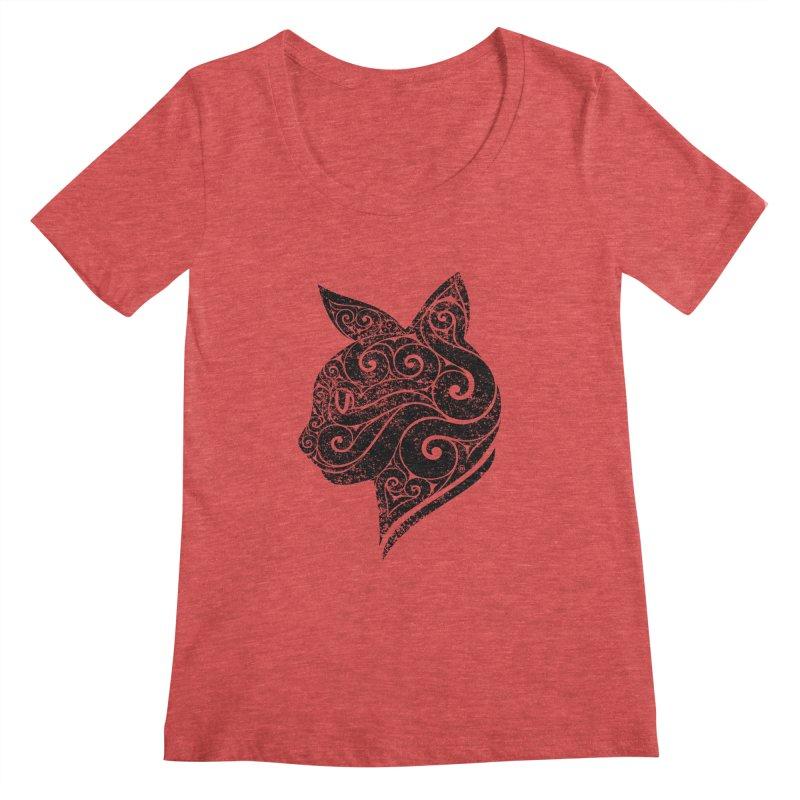 Swirly Cat Portrait 3 Women's Scoopneck by VectorInk's Artist Shop