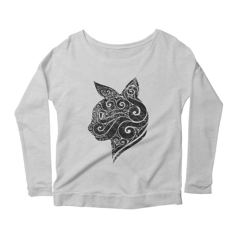 Swirly Cat Portrait 3 Women's Scoop Neck Longsleeve T-Shirt by VectorInk's Artist Shop