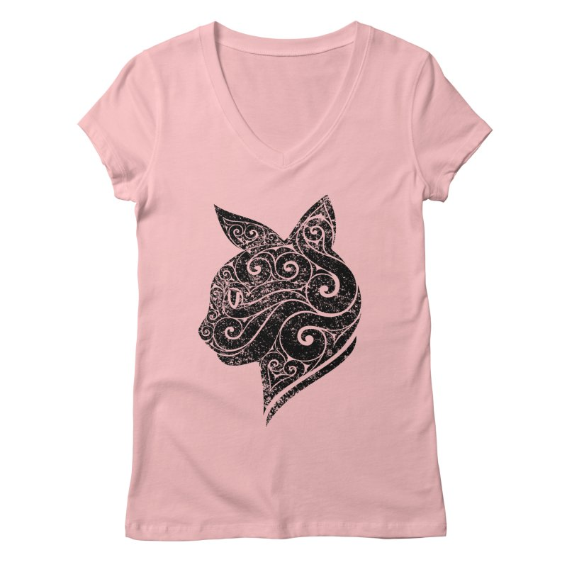 Swirly Cat Portrait 3 Women's V-Neck by VectorInk's Artist Shop
