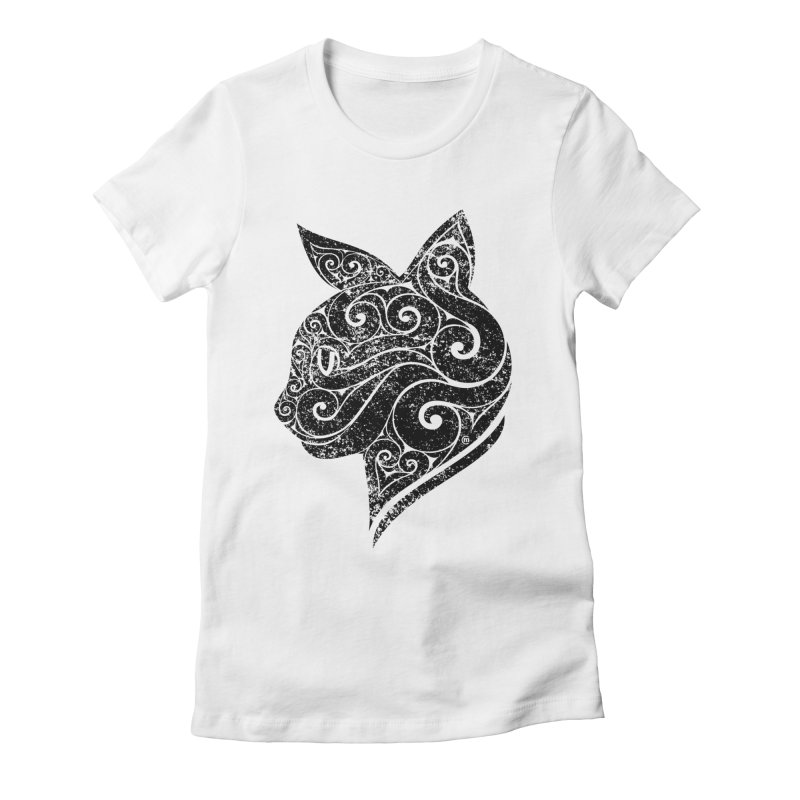 Swirly Cat Portrait 3 Women's Fitted T-Shirt by VectorInk's Artist Shop