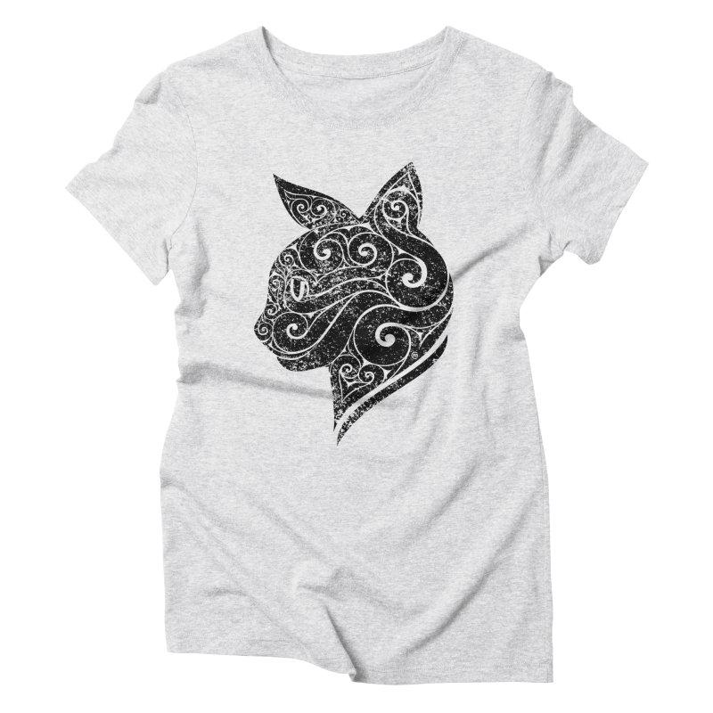 Swirly Cat Portrait 3 Women's Triblend T-Shirt by VectorInk's Artist Shop
