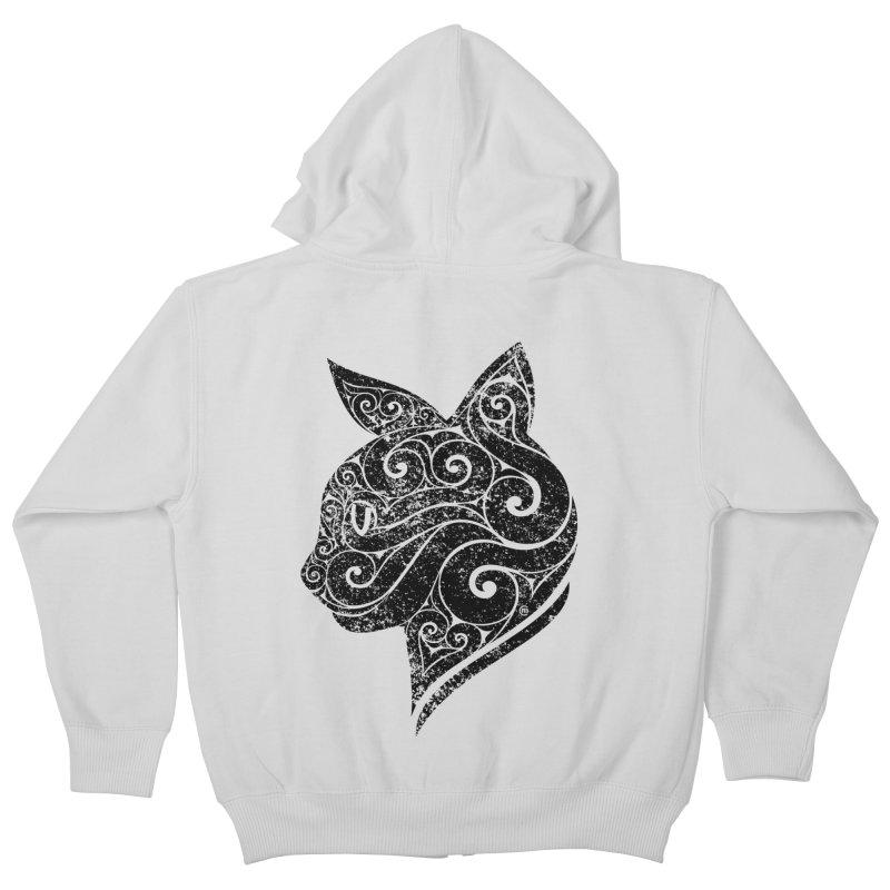 Swirly Cat Portrait 3 Kids Zip-Up Hoody by VectorInk's Artist Shop