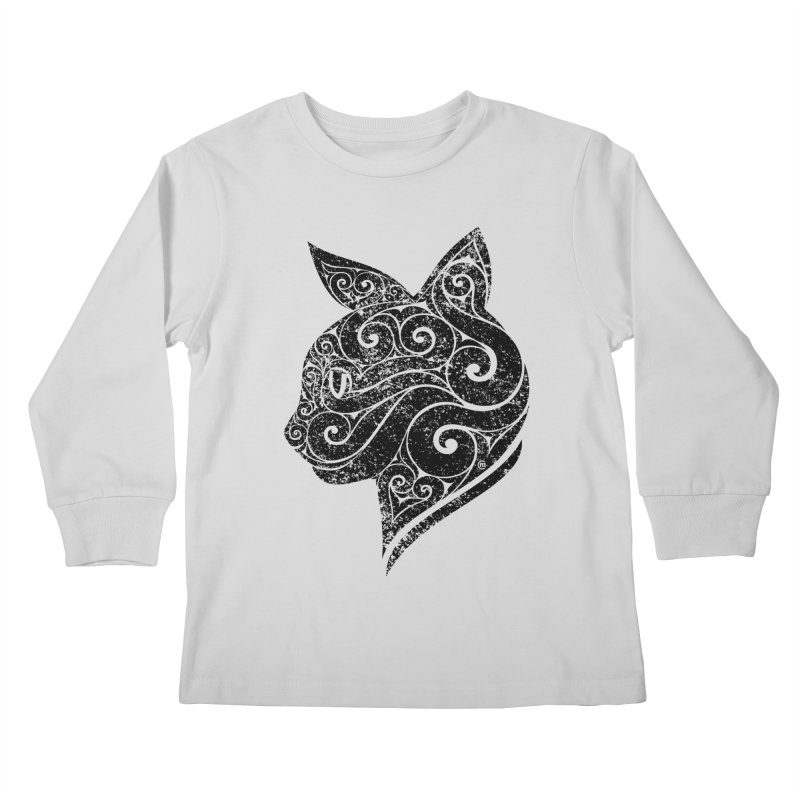 Swirly Cat Portrait 3 Kids Longsleeve T-Shirt by VectorInk's Artist Shop