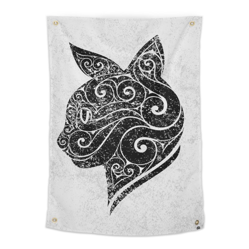 Swirly Cat Portrait 3 Home Tapestry by VectorInk's Artist Shop