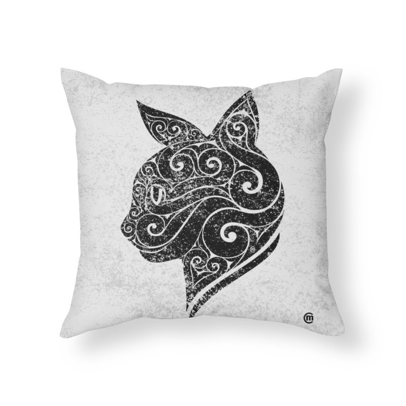 Swirly Cat Portrait 3 Home Throw Pillow by VectorInk's Artist Shop