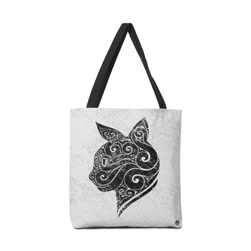 Swirly Cat Portrait 3 Accessories Bag by VectorInk's Artist Shop