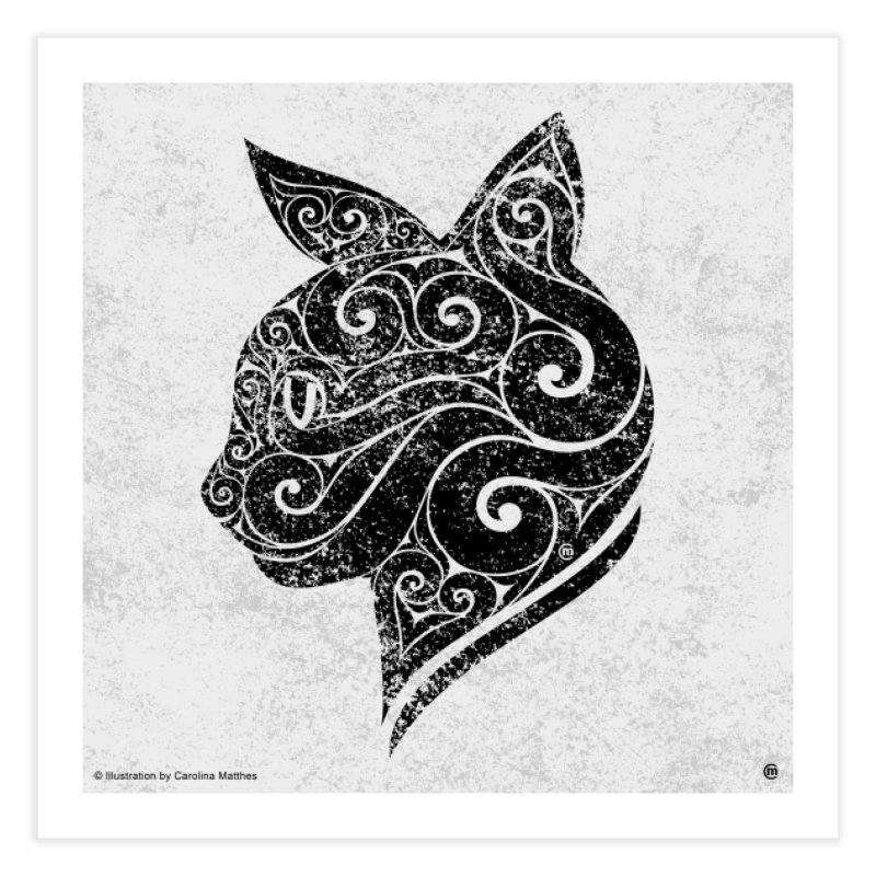 Swirly Cat Portrait 3 Home Fine Art Print by VectorInk's Artist Shop