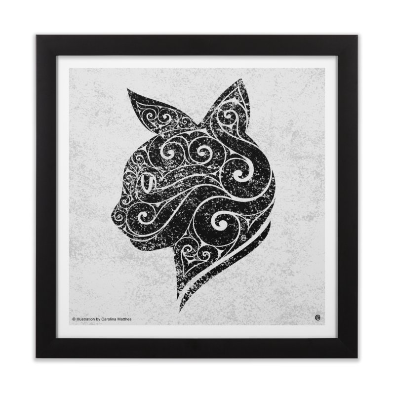 Swirly Cat Portrait 3 Home Framed Fine Art Print by VectorInk's Artist Shop